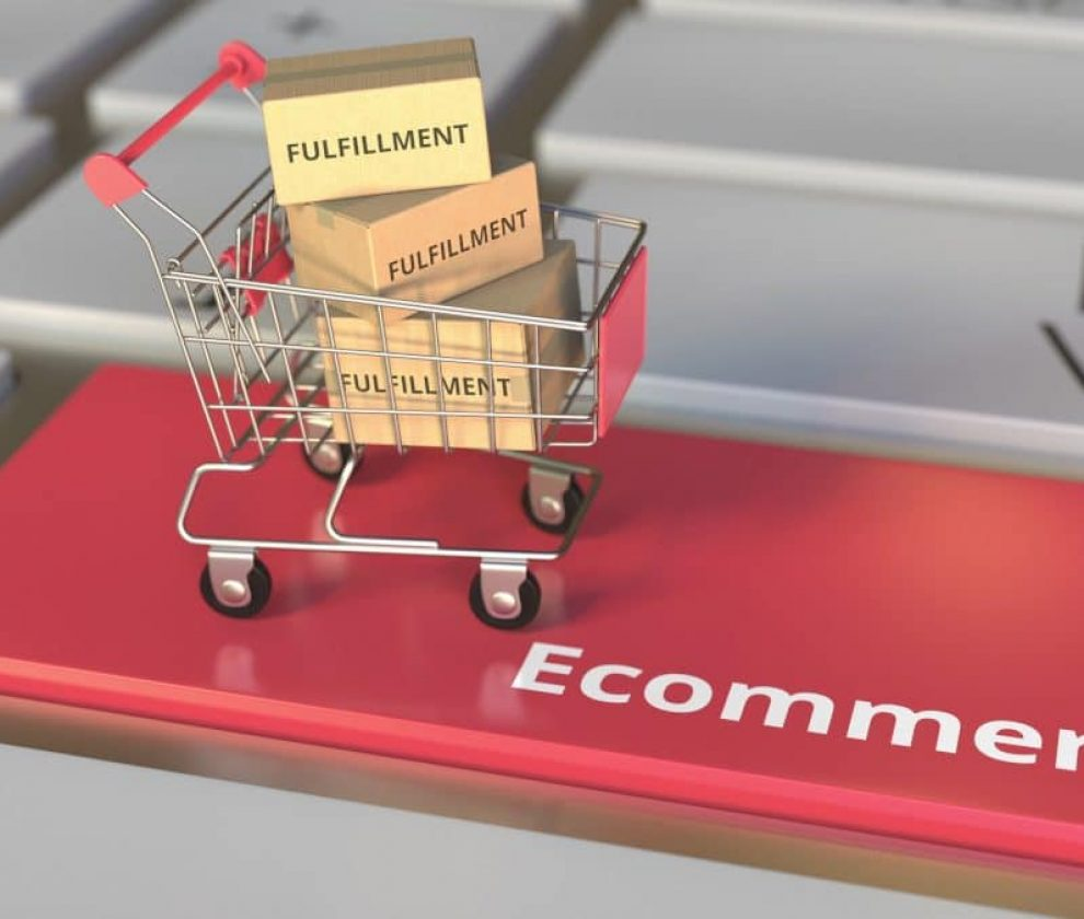 Ecommerce,Text,On,Computer,Keyboard,And,Cartons,With,Fulfillment,Words